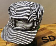 NICE TRAIN ENGINEER CONDUCTOR BLUE/WHITE PINSTRIPED HAT SIZE SMALL VGC