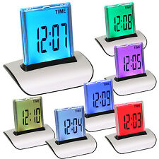 7 LED Change Colour Digital LCD Alarm Clock with Thermometer Calendar Snooze