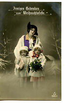 Pretty Mom w/ Little Girls-Holiday Hand Colored RPPC-Real Photo Vintage Postcard