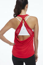Fabletics Athletic Sol Tank Mesh Open Back Hibiscus Red Size S 6 Kate Hudson NWT