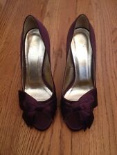 Valentino Plum Purple Satin Bow Pumps Sz 37 US 6.5