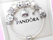 Authentic Pandora Silver Bangle Charm Bracelet With Hello Kitty European Charms.