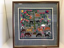 VINTAGE FRAMED NEEDLEPOINT PICTURE BIRDS ANIMALS Of Africa