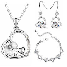 Bridal Crystal White Hearts Jewellery Set Earrings Necklace & Bracelet S459