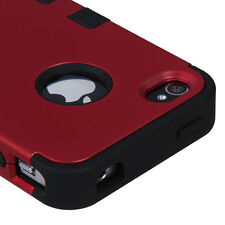 For Apple iPhone 4 4S Hybrid ShockProof Rubber Hard Protective Case Cover Red