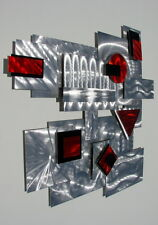 Abstract Silver Red Black Metal Wall Art Sculpture Home Decor - Red Persuasion