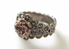 Antique Art Deco 800 Silver Rose Gold Overlay Marcasite Ring Size 6