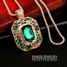 2017 Vintage Big Square Green Rhinestone Pendant Long Necklace For Women My285
