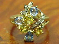 9kt 375 giallo ORO ANELLO con brillante & Topaz GUARNIZIONE con Diamante// 4,7g/RG 55,5