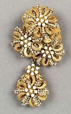 Vintage Miriam Haskell Pearl Flower 2 Part Design Gold Brooch Pin Estate Jewelry