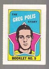 """[50083] 1971-72 TOPPS HOCKEY BOOKLET INSERT """"THE GREG POLIS STORY"""" #9"""