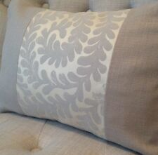 "12x16"" panelled cushion cover Laura Ashley Berkeley Scroll Pewter & Bacall Mocha"