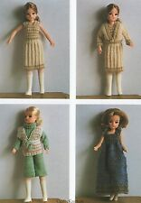 "Knitting Pattern for Four 12"" Doll Vintage Outfits Fashion Dolls Cindy Etc"