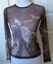 """Just in Time"" Geisha Girl Sheer Nylon Embellished Print Top"