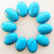 A PAIR OF 14x10mm OVAL CABOCHON-CUT NATURAL CHINESE TURQUOISE GEMSTONES £1 NR!