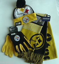 NFL / PITTSBURGH STEELERS CAP / SCARF / GLOVES / LICENSED AUTHENTIC (WHIZ S/R)