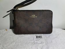 NWT COACH SIGNATURE PVC DOUBLE CORNER ZIP WRISTLET IN BROWN/BLACK  -F66506