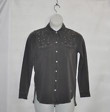 Quacker Factory DreamJeannes Be Jeweled Button Front Shirt Size S Charcoal Grey