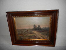 Old oil painting,{ Landscape with a man & his flock of sheep, is signed }.