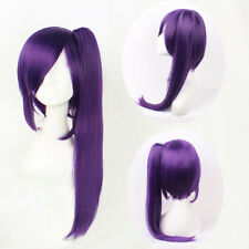 Long Straight Purple Gintama Terakado Tsu Anime Costum Cosplay Wig+Ponytail