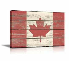 "Flag of Canada on Vintage Wood Board Background Stretched Canvas 24"" x 36"""