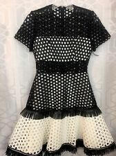 Alexis Dress Black And White Embroidered Full Skirt Fringe Short sleeve Size 0