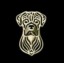 Boxer dog Brooch or Lapel Pin -Fashion Jewellery Gold Plated, Stud Back