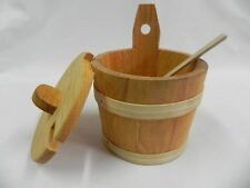 Sugar bowl bucjet with spoon and lid - salt spices wood wooden 14 cm 5.5 inches
