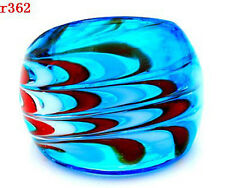 1pc 8# BLUE Murano Lampwork Glass nice pattern handmade ring r362