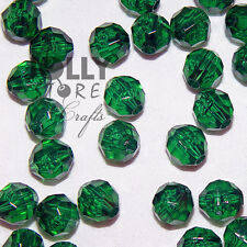 8mm Christmas Tree Green Faceted Acrylic Beads 500 piece bag