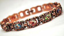 LADIES 7.25 INCH MAGNETIC THERAPY LINK BRACELET: Copper & Victorian Flowers