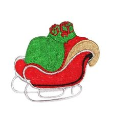 ID 8152B Santa's Sleigh Christmas Holiday Embroidered Iron On Applique Patch