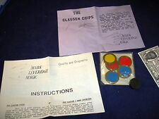 THE CLAUSEN CHIPS MARK LEVERIDGE MAGIC TRICK BRASS POKER CHIPS