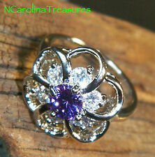 PRETTY 14K WHITE GOLD FILLED RING PURPLE AMETHYST FLORAL DESIGN TOPAZ SIZE 7.75
