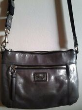Coach Poppy Silver Gray Leather Messenger/Crossbody Bag Purse