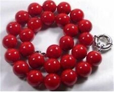 "10mm Red Sea Coral Gems Round Bead Necklace 18""AA+006"