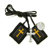 Scapular Crusader Athlete Medium Lady Mt Carmel Brown 100% Wool Medal Catholic