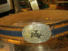LEEGIN LEATHER & DENIM BELT SIZE 34 BULLRIDER BUCKLE FOR THE COWBOY IN YOUR LIFE