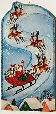 Santa Flies Over Housetops Deer Christmas VTG Glittered Ornament Greeting Card