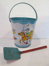 Chein Tin Litho Sand Bucket, Pail, Amusement Park Rides VINTAGE AWESOME CONDITIO