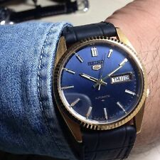 Orologio Vintage Seiko 5 Automatico Gold 7009 Day_date Mm 37 Watch W.r. Blue
