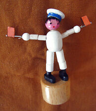Italian Vintage wood Push Puppet Puppe SAILOR AIRCRAFT CARRIER made in Italy