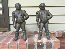 """Antique Cast Iron """"George Washington"""" Andirons and Firedogs"""