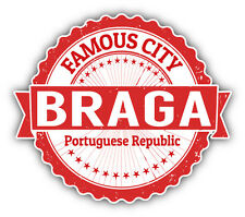"Braga City Portugal Grunge Travel Stamp Car Bumper Sticker Decal 5"" x 4"""