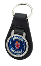 Saab Scania Blue Logo Quality Black Leather Keyring