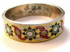 Vintage Siam Sterling Silver Yellow Niello Flower Bangle Bracelet