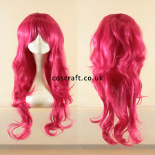 Long wavy curly cosplay wig with fringe in fuschia dark hot pink, Charlie style