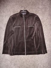 Blast velour brown zippered jacket with patch and zip pockets, size XL