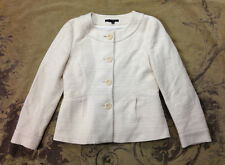 Theory Winter White Cream Woven Boucle Hepburn Cropped Jacket Coat Womens 4 S