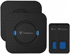 Tenswall Wireless Doorbell Waterproof 1000 Ft, 2 Transmitters, 2 Receivers Black